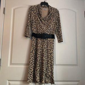 Knit ivory polka dot dress